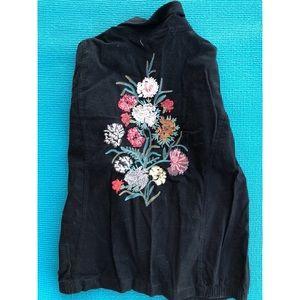 Embroidered Flowers Black Jacket